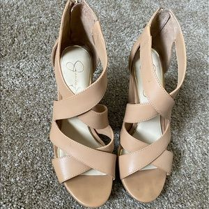 Strappy nude wedges by Jessica Simpson